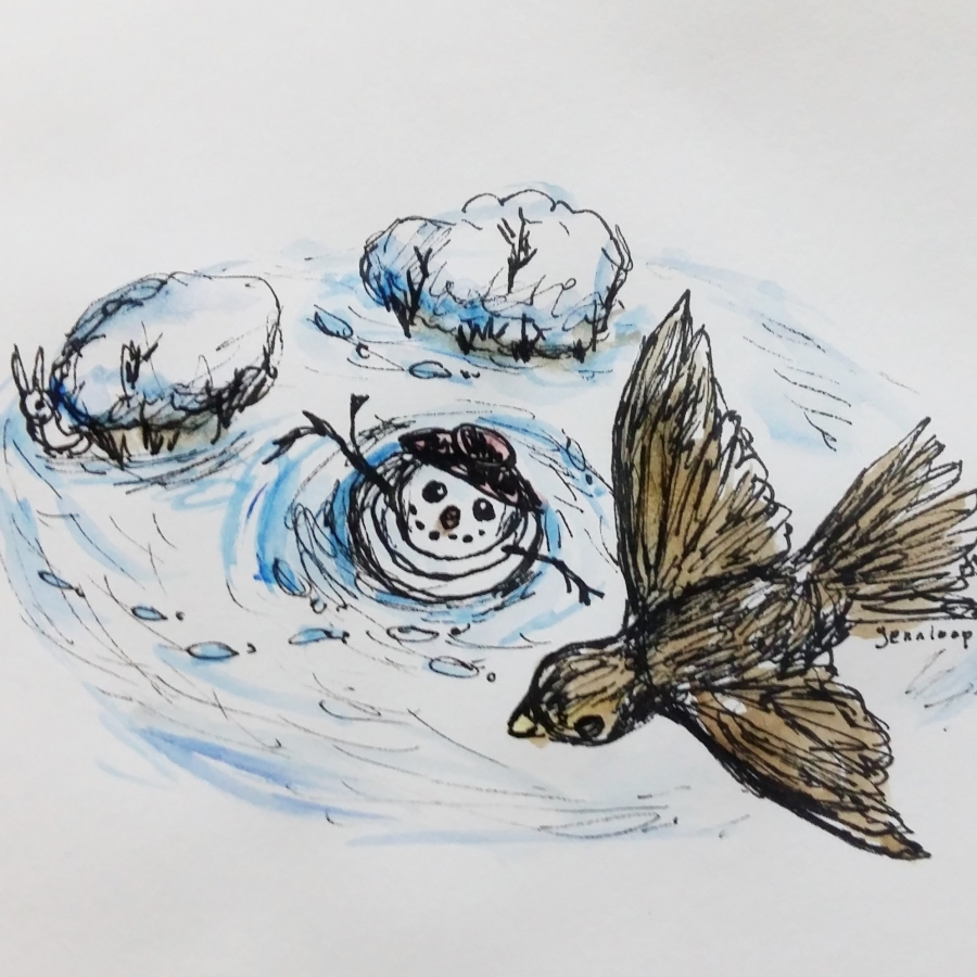 Snowman and Bird by Jennloop
